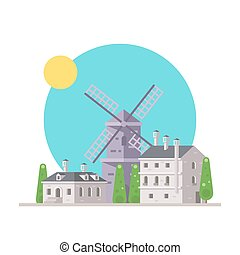 Flat design of europe village with windmill