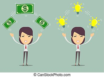 Flat design of exchange business ideas and money. Business idea concept. Vector illustration. Isolated.