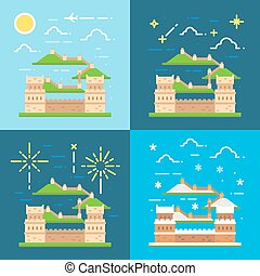 Flat design of Great wall China illustration vector