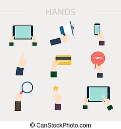 Flat design of hand icons set. Concept of hand in many characters: presenting, showing, using tablet and smart phone, writing, thumb up and down, hand holds magnifying glass and credit card. Vector illustration.