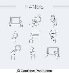 Flat design of hand line icons set. Concept of hand in many characters: presenting, showing, using tablet and smart phone, thumb up and down, holds magnifying glass and credit card.Vector illustration