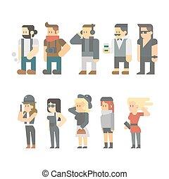 Flat design of hipster people set