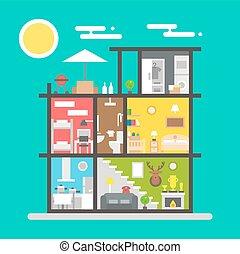 Flat design of house interior illustration vector