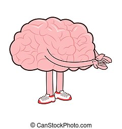 human brain with arms and legs icon