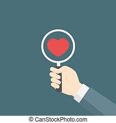 Flat Design of illustration find Red Heart