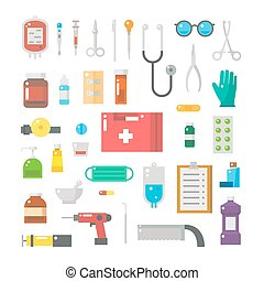 Flat design of medical equipments set