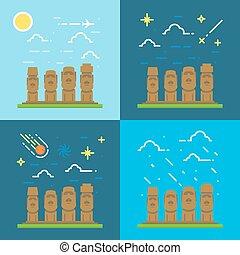 Flat design of Moai Chile