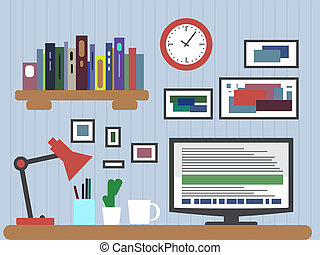 Flat design of modern office interior with designer desktop showing application interface icons and elements in minimalist style color.