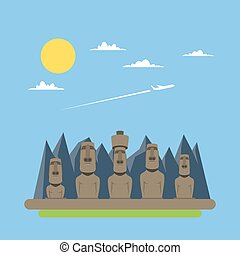Flat design of Moei statues