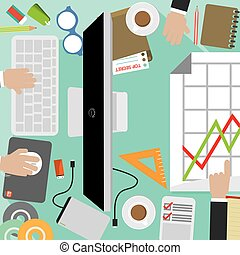 Flat Design Of Office Workers Desk With Office Supply Vector Illustration