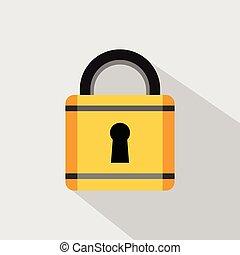 Flat design of padlock .