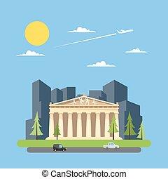 Flat design of parthenon greek illustration vector