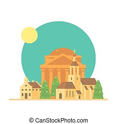 Flat design of Pantheon Italy with village