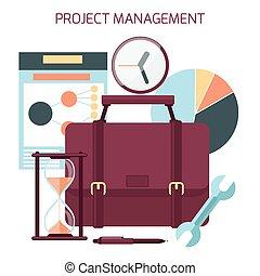 Flat design of project management