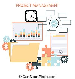 Flat design of project management