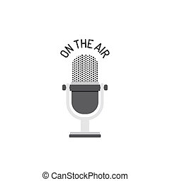 Flat Design Of Radio Microphone On The Air