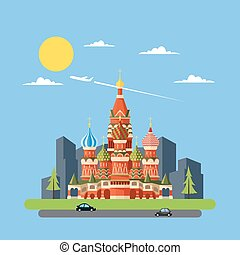Flat design of Russia castle illustration vector