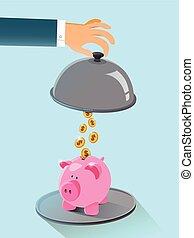 flat design of saving money concept