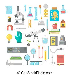 Flat design of science equipments set