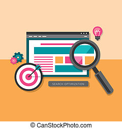 flat design of search optimization - flat design of the SEO ...
