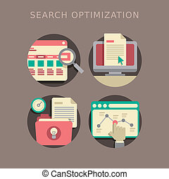 flat design of search optimization - flat design of the SEO...