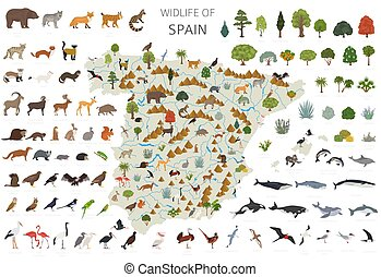 Flat design of Spain wildlife. Animals, birds and plants constructor elements isolated on white set. Build your own geography infographics collection. Vector illustration