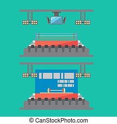 Flat design of sport stadium
