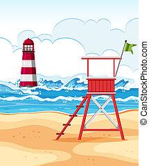 Flat design of summer beach