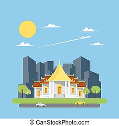 Flat design of Thai temple