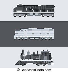 Flat design of train locomotive set
