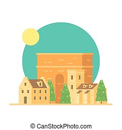 Flat design of Trajan's arch Italy with village illustration...