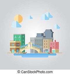 Flat design of venice bridge cityscape