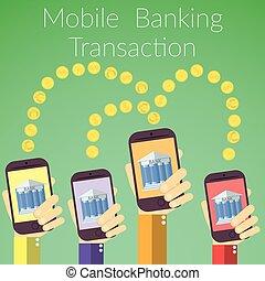 Flat design online banking concept