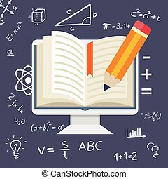 Flat design Online education