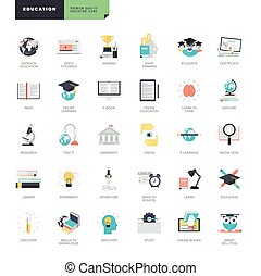 Flat design online education icons