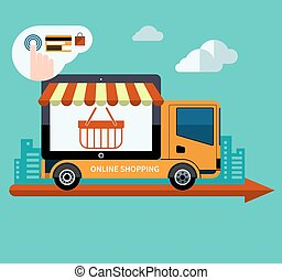 Flat design online shopping and delivery concept illustration