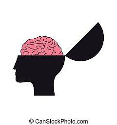 open human head and brain icon