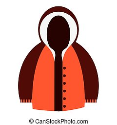 winter jacket icon - flat design orange and brown hooded...