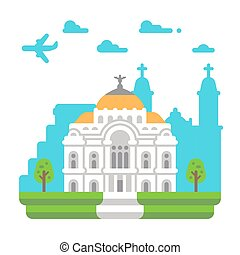 Flat design Palace of Fine Arts illustration vector