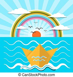 Flat Design Paper Boat and Ocean with Rainbow