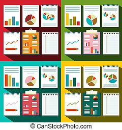 Flat design Paperwork Background with Graphs and Report Title Covers