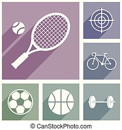 Flat design pastel sport vector icons in eps 10, tennis, darts, football, basketball, cycling, bodybuilding symbols.