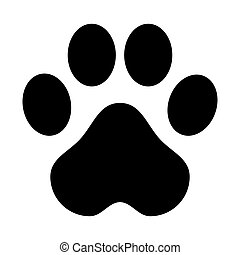 flat design paw print icon vector illustration