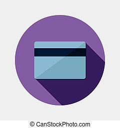 Flat design payment card icon - An illustration of flat...
