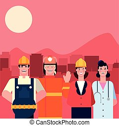 flat design people happy labor day