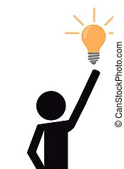 person pictogram with lightbulb icon