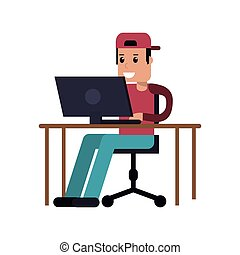 person using laptop icon