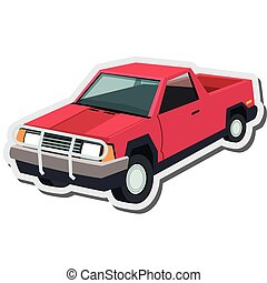 pickup truck icon - flat design pickup truck icon vector...