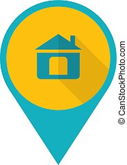 Flat Design Pin with Home Icon.