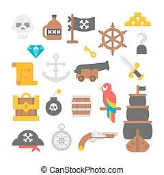 Flat design pirate items
